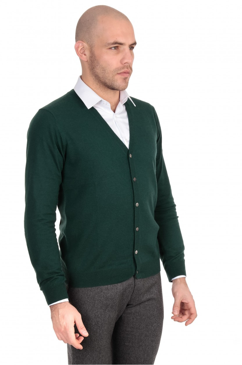 Gilet Boutons Vert Coudiere