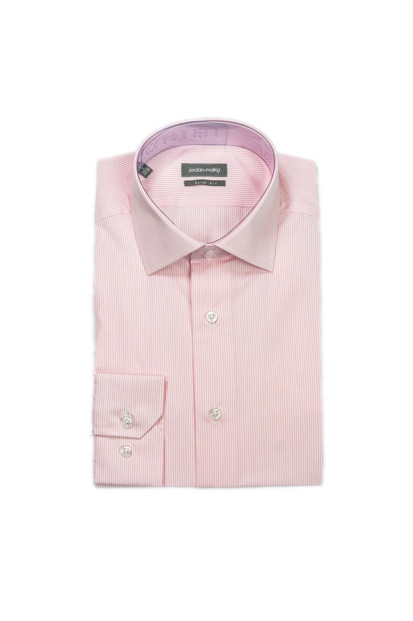 Chemise fines rayures roses