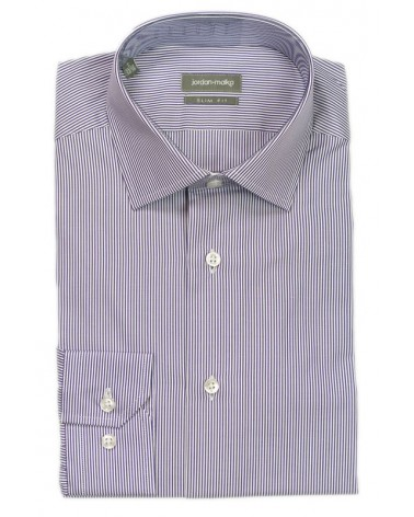 Chemise fines rayures violettes