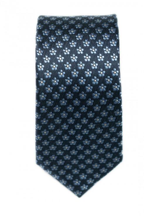Cravate Marine Fleurs Bleues