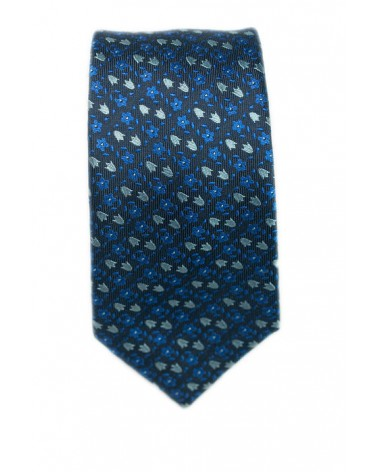 Cravate Marine Fleurs Bleues et Grises