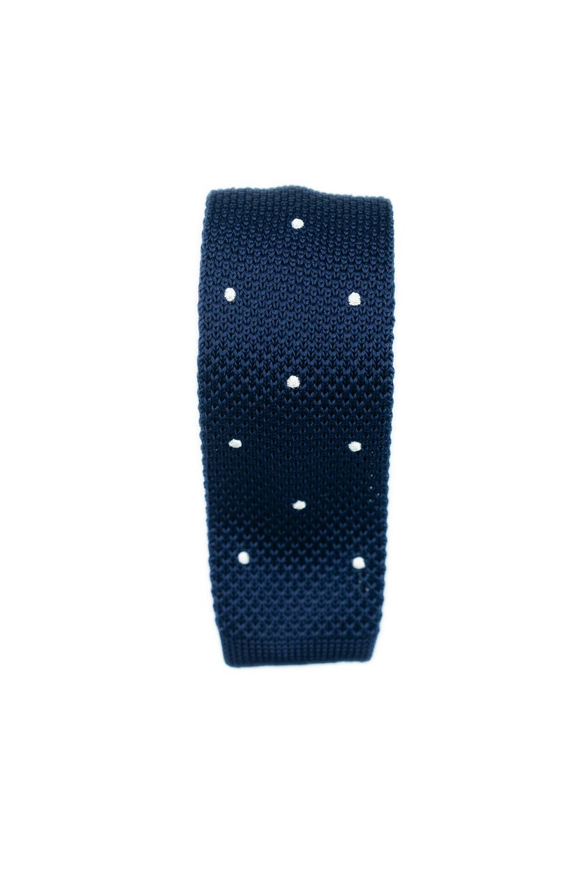 Cravate Tricot Marine Pois Blanc