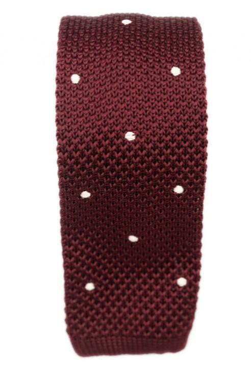 Cravate Tricot Bordeaux Pois Blanc