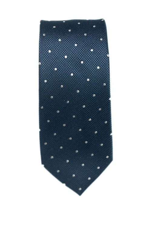 Cravate Bleu Pois Blanc