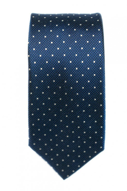 Cravate Bleu Vif Pois Blanc