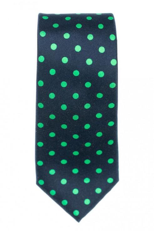 Cravate marine pois vert