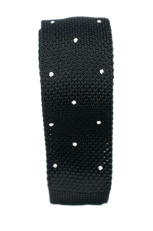 Cravate Tricot Noir Pois Blanc