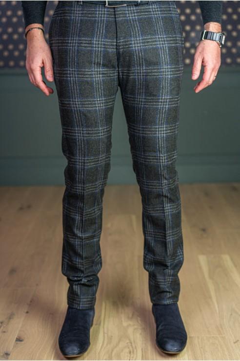 Pantalon en flanelle à carreaux gris