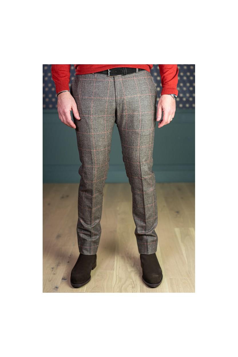 Pantalon en flanelle à carreaux beige