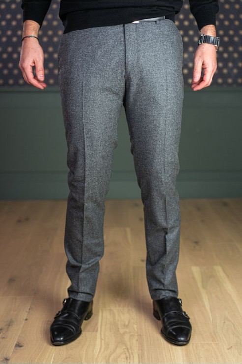 Pantalon en flanelle gris moyen