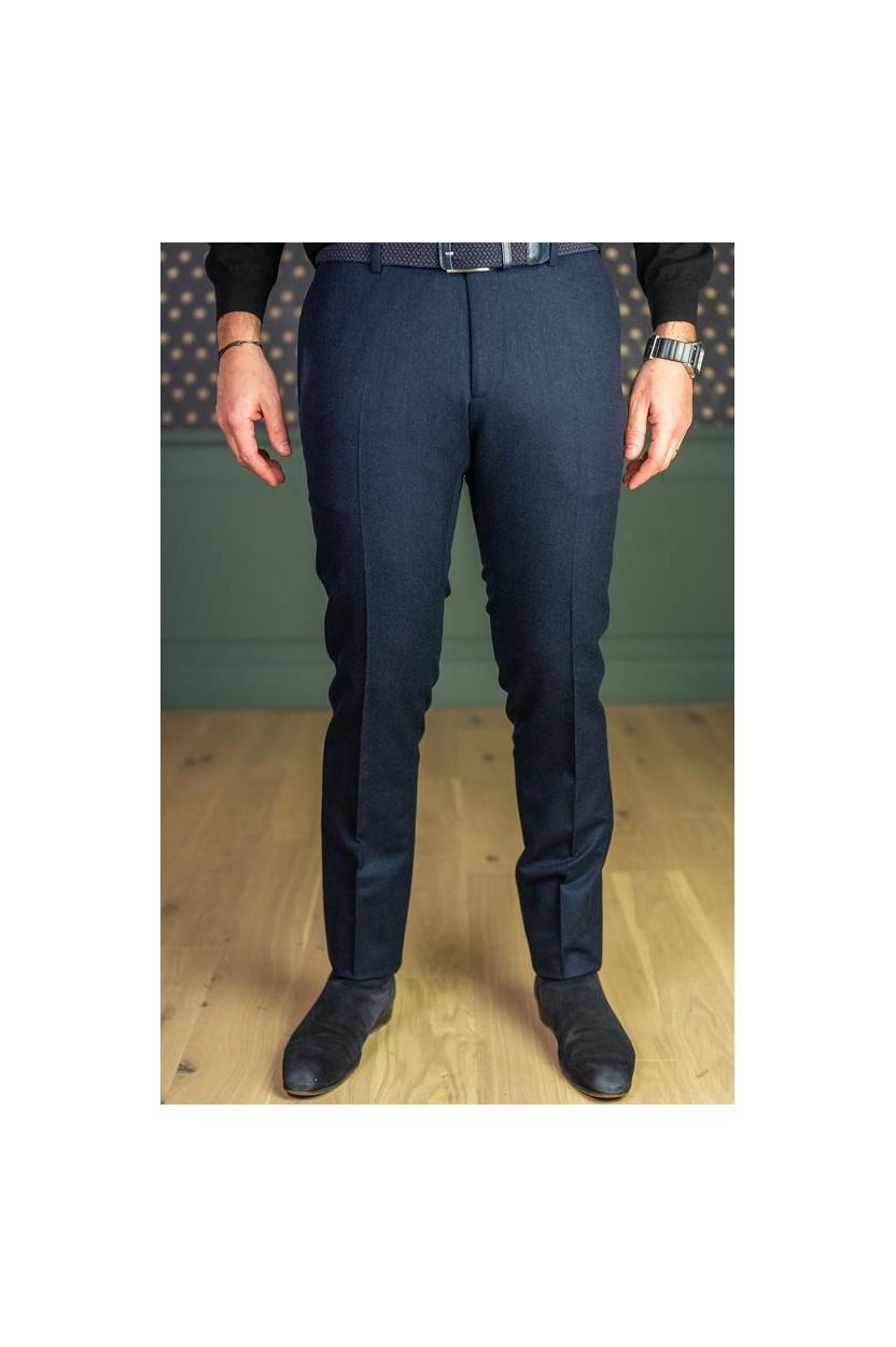 Pantalon en flanelle bleu marine